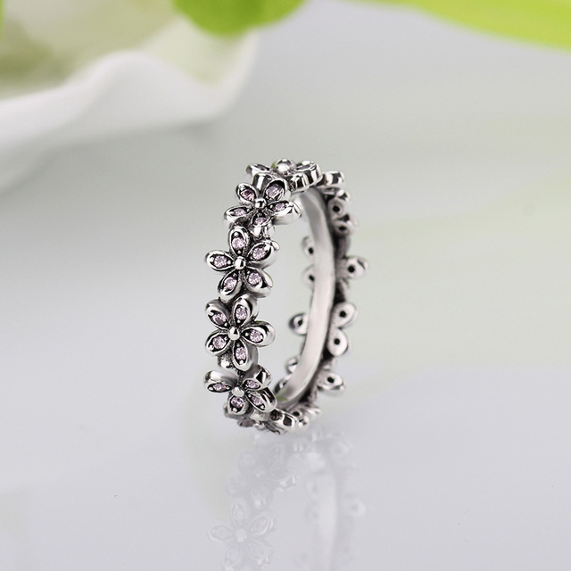 a4ca4e85a HOMOD Silver Color Flowers Pandora Finger Rings Dazzling Daisy Meadow  Stackable Ring, Clear CZ For Women Wedding Jewelry