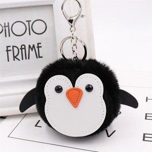 Милый брелок в виде пингвина из натурального кроличьего меха, Женская безделушка с помпоном, сумка для кукол, кольцо для ключей с кроликом, б...