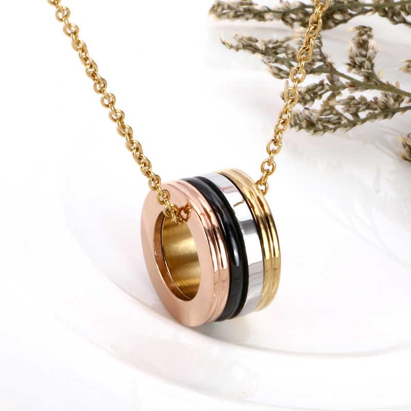 2018 Горячее предложение, модное розовое золото, 316 нержавеющая сталь, ожерелье для пар, панк Кристалл, керамическое ожерелье для женщин и мужчин, ювелирное изделие на День святого Валентина