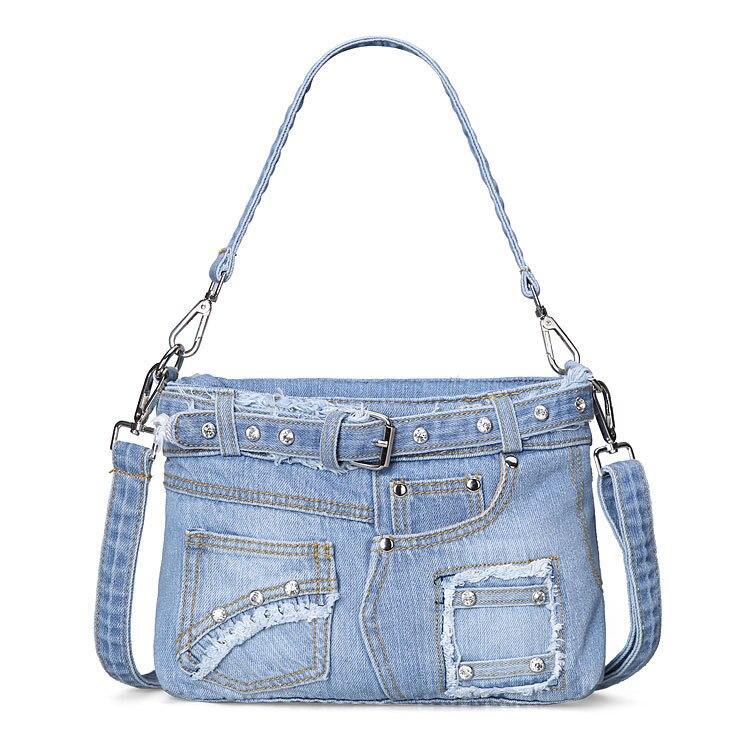 Fashion blue genuine denim cloth handbag designer diamond summer shoulder bags small crossbody ...