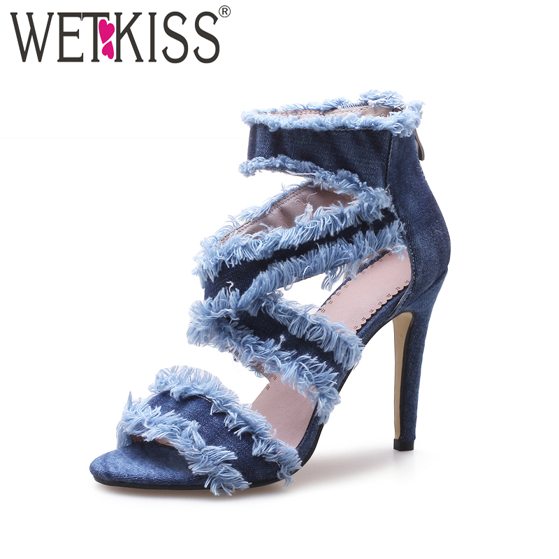 WETKISS Summer Sexy High Heels Women Sandals Open Toe Denim Thin Heels Zipper Footwear 2018 New Fashion Ladies Shoes Big Size 43 luxury good quality new fashion women zipper jumpsuit slim fit skinny jeans rompers pocket denim jumpsuits size sexy girl casual