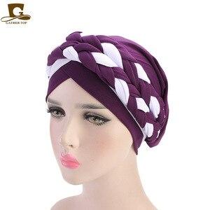 Image 3 - 여성 브레이드 모자 이슬람기도 터번 모자 이슬람 터번 포함 모자 여성 더블 컬러 히 자브 브레이드 캡 헤어 액세서리