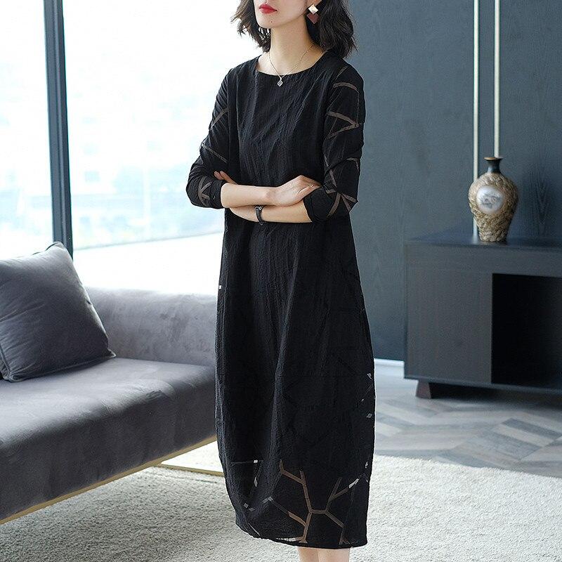 Lente en Herfst 2019 nieuwe slanke Jurk temperament mode Zomer vrouwen Grote Omvang losse Jurk zwart X495 - 2