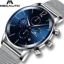 MEGALITH אופנה Mens שעונים למעלה מותג כחול פנים ספורט עמיד למים הכרונוגרף קוורץ שעוני יד לגברים שעון Relogio Masculino