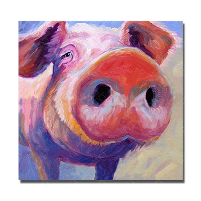 Big Size Modern Oil Paintings Pet Pig Wall Design Pictures for ...