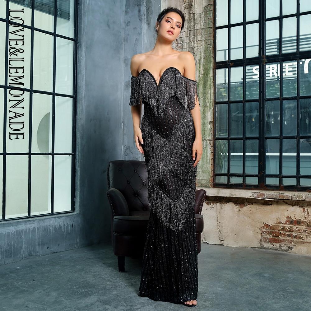 愛 & レモネードセクシーなディープ V ネック黒房装飾ストライプグリッターマキシドレス LM1376  グループ上の レディース衣服 からの ドレス の中 1