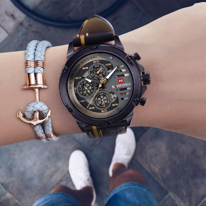 NAVIFORCE Creative Sports Watches Men Fashion Luxury Waterproof Leather Analog Quartz Wristwatches Clock Male Relogio Masculino kezzi men watches sports waterproof quartz watch luxury brands leather strap watches wristwatches relogio masculino relojes