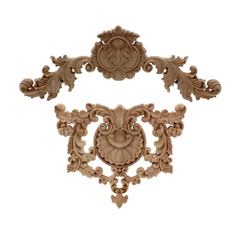 VZLX WSHYUFEI Flower Carving Natural Wood Appliques For Furniture Cabinet Unpainted Wooden Mouldings Decal Decorative Figurine