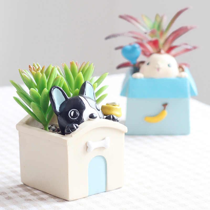 ROOGO 新デザインファッション漫画の動物プランター雑貨手工芸品かわいいフラワーポット多肉植物ポット家の装飾