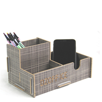 Office Stationery Creative Multifuntional Wooden Desktop Organizer Pen Holder Card Organizer Clip Holder Stationery Holder