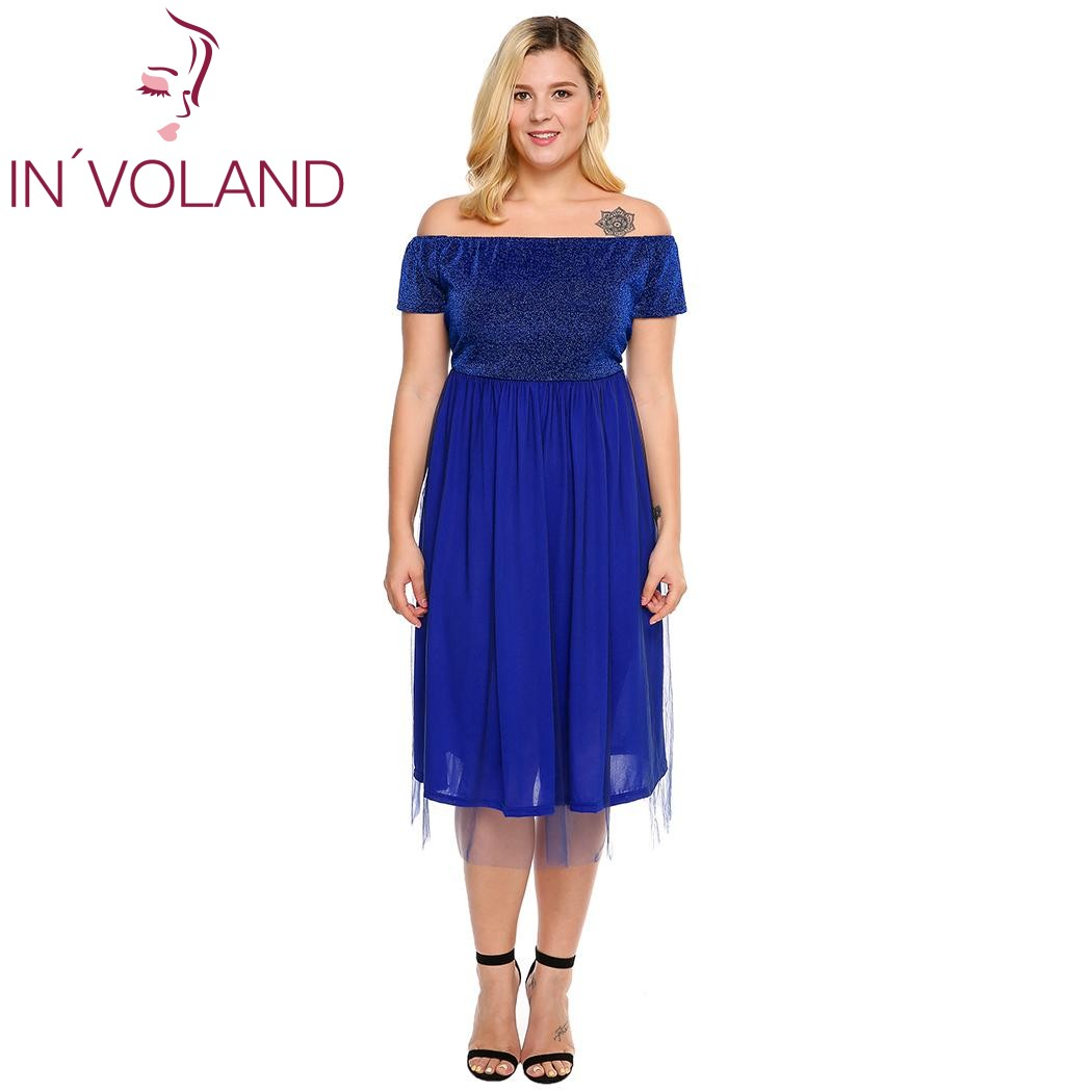 IN'VOLAND Grande Taille Femmes Robe Parti Off Épaule Manches Courtes Shimmer Tulle Overlay Maxi Plus Robes Robes Grande Taille