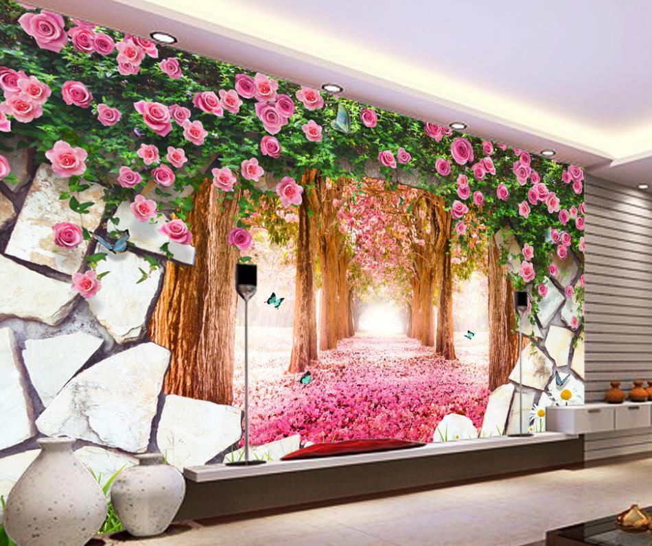 3d Stereoskopische Tapete Dekoration Traum Lila Rosa Kirschblüten  Blütenblätter Tapeten Für Wohnzimmer(China)