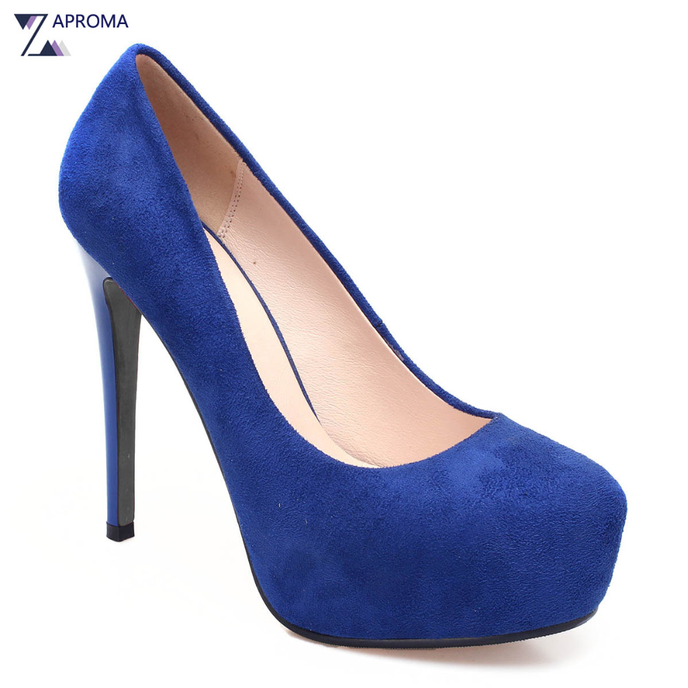 Party Women Pointed Toe Super High Heel Platform Pumps Suede Thin Heels Stiletto 2018 Spring Autumn Sexy Navy Blue Slip On Shoes 2017 spring autumn women pumps sexy pointed toe suede ladies shoes big size 32 43 slip on thick heel red wedding high heels