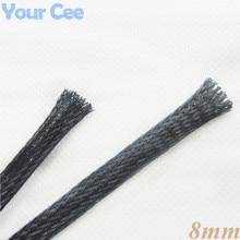 1 м обшивка Авто Провода использование нейлон плетеный кабель трубки 8 мм черный
