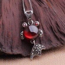 Марка винтаж стерлингового серебра 925 золотая рыбка ожерелье гранат ожерелье из небольшой золотая рыбка ожерелья и кулоны