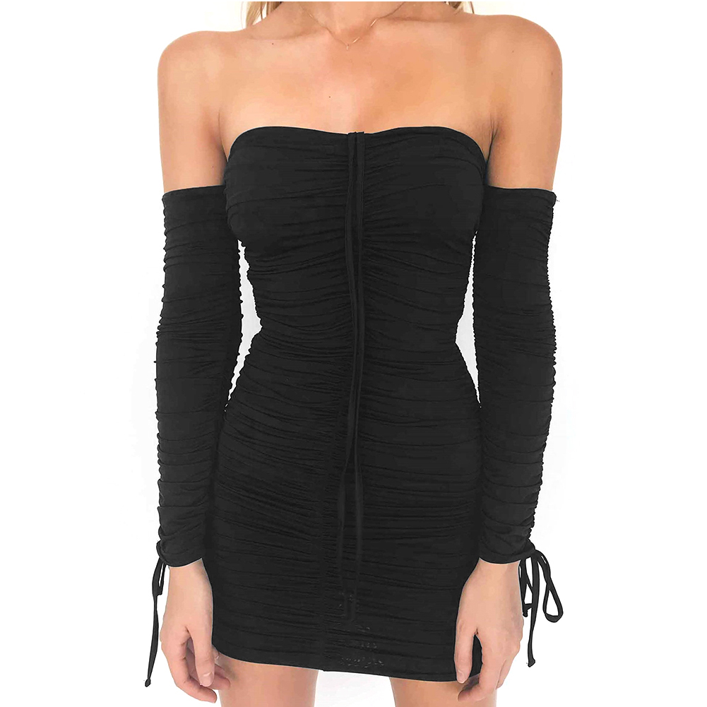 Women Summer New Stylish Off Shoulder Slim Fit Bodycon Dress Casual Long Sleeve Pleated Dress Daily Wear Dress Vestidos