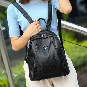 Image 5 - Popular Joker Female Backpack Casual Shopping Women Bag Fashion Soft Pu Leather Student Bagpack Classic Black Design Lithe