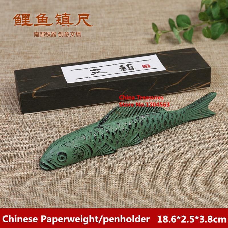 Cast Iron Chinese Paperweight Chinese Calligraphy Penholder Chinese Painting Paper Weight Carp Fish