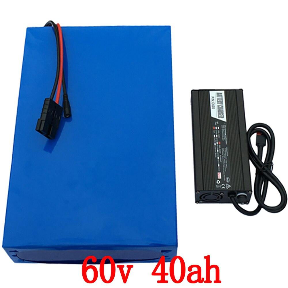 60 v Au Lithium Batterie 60 v 40AH Scooter Batterie 60 v 40AH 2000 w 2500 w Vélo Électrique Batterie avec 50A BMS + 67.2 5A chargeur