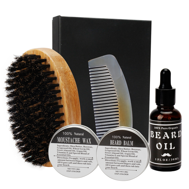 Preboily Men Moustache Wax Cream Beard Balm and Beard Oil Kit with Moustache Comb Brush Storage Gift Box 5pcs/Box