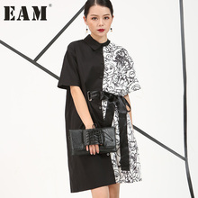2017 Европа Летний новый Нерегулярные отпечатано Личность белый и черный с короткими рукавами длинные рубашки женщины мода 4CH1571