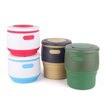Silicone Foldable Coffee Cup Portable Travel Office School Water Cup Folding Coffee Cup Multi Functional Water Cup Milk Tea Cup