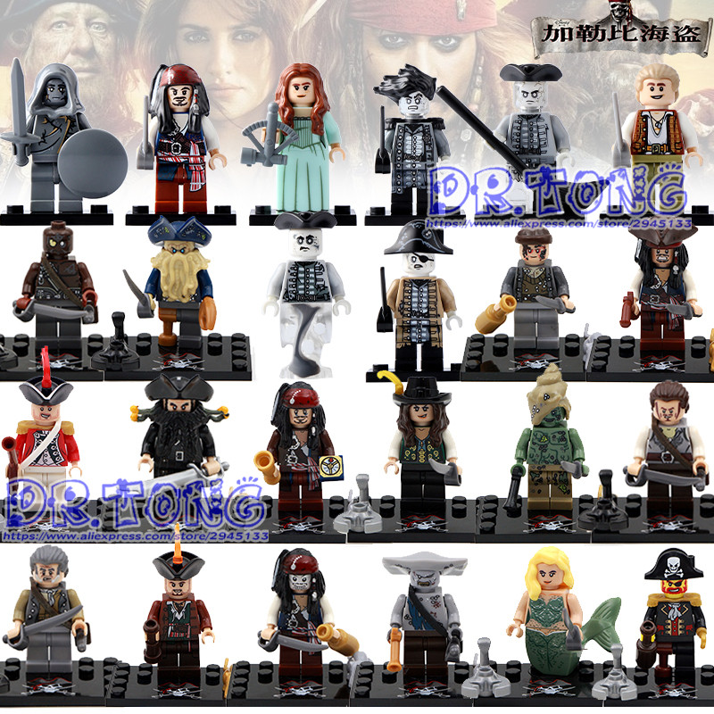 DR.TONG 24PCS/LOT Pirates of the Caribbean Lesaro Captain Jack Edward Mermaid Davy Jones Bricks Buildng Blocks Toys Child Gifts pirates of the caribbean lesaro captain jack edward mermaid davy jones silent mary carina smith building blocks kids toys pg8048