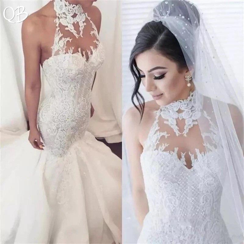 Robes de mariée sur mesure 2019 sirène licou Tulle dentelle fleurs Sexy élégant robes de mariée de mariée grande taille ZF02