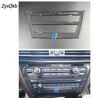 Carbon Fiber Refit Car Interior AC CD Control Decor Frame Decoration Sticker for BMW F15 F16 X5 X6 2012 2017