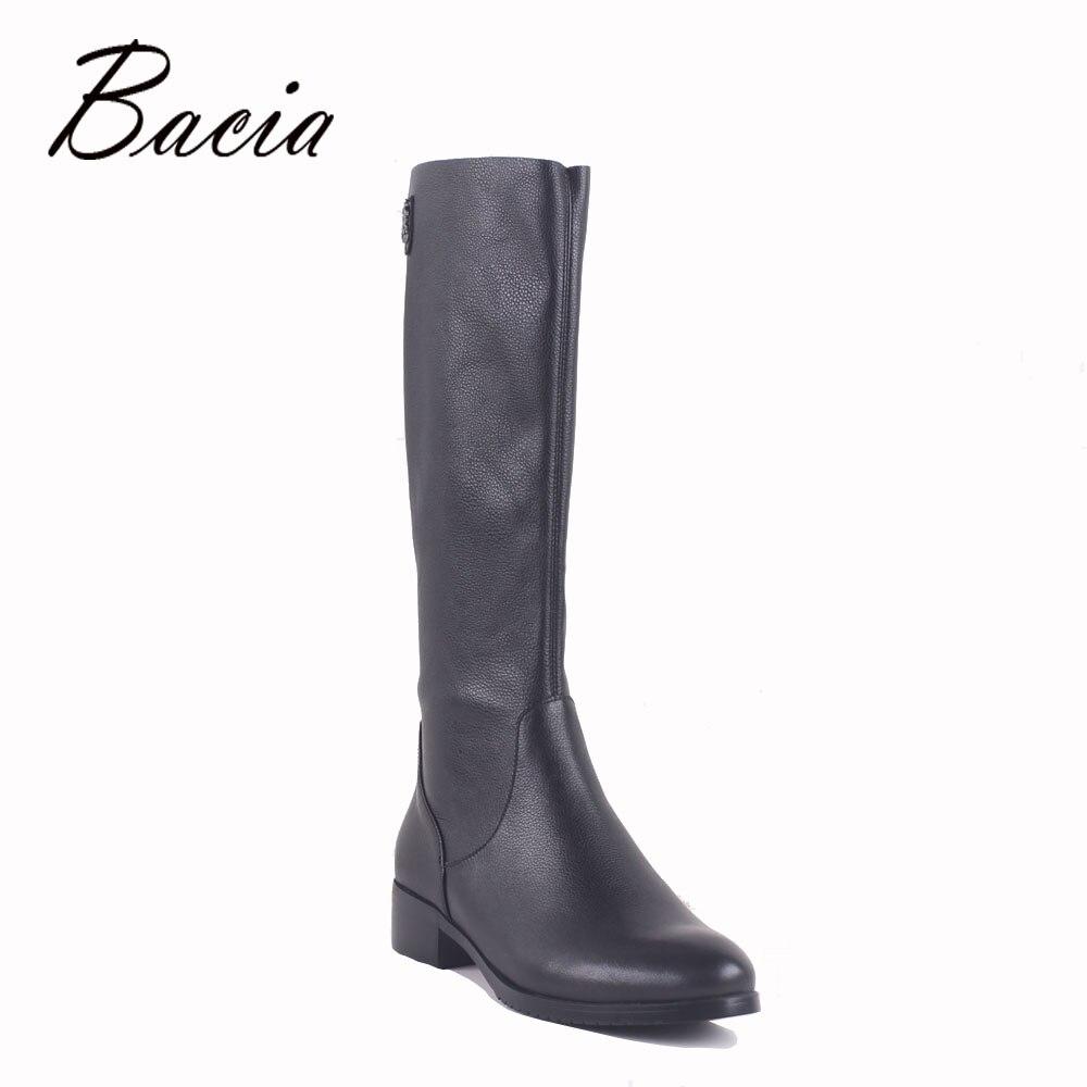 Bacia Genuine Leather Boots Top Elastic PU Leather Fashion Pure Black Boots Short Plush 3cm Heel bota feminina Size35-40 MC021 devil pattern elastic plush eyepatch black white