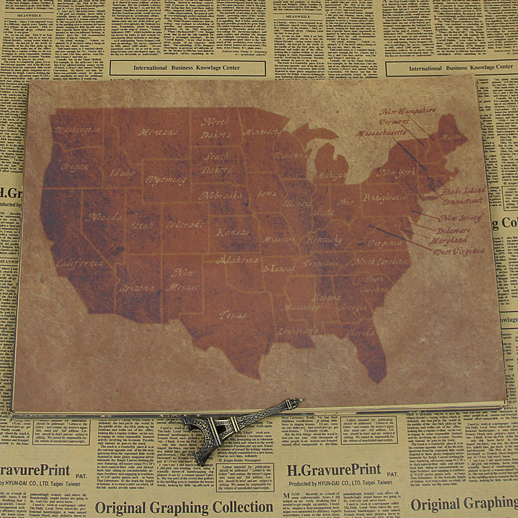 retro Ametica US states Map Classic Kraft Paper Movie Poster vintage Bar Cafe Art Crafts Wall Sticker Living Room antique Paint