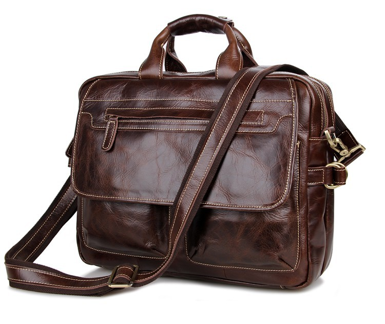 Nesitu Vintage Real Genuine Leather Men Messenger Bags Cowhide Business Travel Bag 14'' Laptop Briefcase Portfolio #M7085
