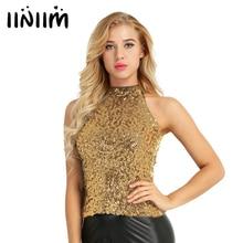 Women Halter Neck with Hook Slim Fit Summer Fashion Clothing Shimmer Flashy Sequins Embellished Vest Tank Tops for Clubwear