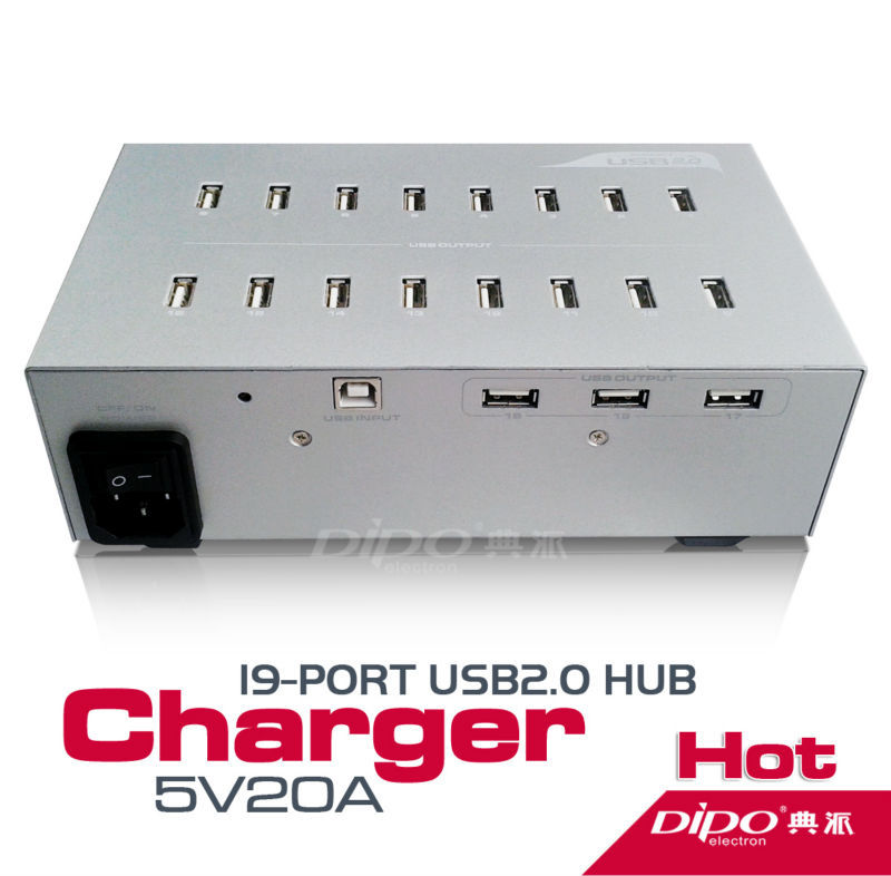 19 Port USB 2.0 HUB with Power Adapter 5V 20 A usb2.0 hubs can transfer data or charger