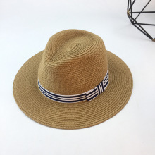 Summer Straw Sun Hat Khaki Striped Bow Panama Caps Womens Beach Hats For Women Floppy Bucket