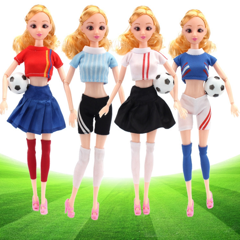 Handmade Casual Football Girl Doll Clothes Sports Girl Clothes for Dolls Football Baby Sport Suits Barbies Clothes Accessories (7)