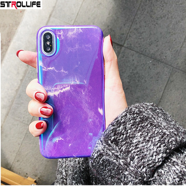 STROLLIFE Fashion Blu-Ray Purple Marble Phone Cases For iphone 7 Coque For iphone  7 8480aa249f6f