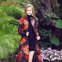 2018 Plus size floral print long casual work trench coat women spring single breasted business OL trench windbreaker casaco