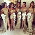 Sexy Sequin Side Split Bridesmaid Dresses Mermaid Long Gold Maid of Honor Dress for Weddings 2016  Wedding Guest Gown