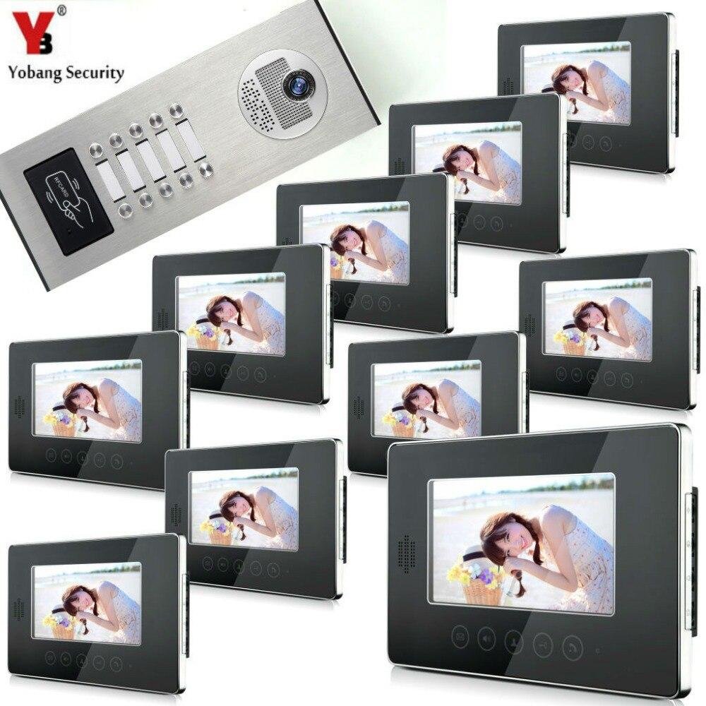 Yobang Security Touch Button 7 LCD Monitor For 10 Apartment Video Doorbell Unlock Intercom System IR 1000TVL Doorbell Camera