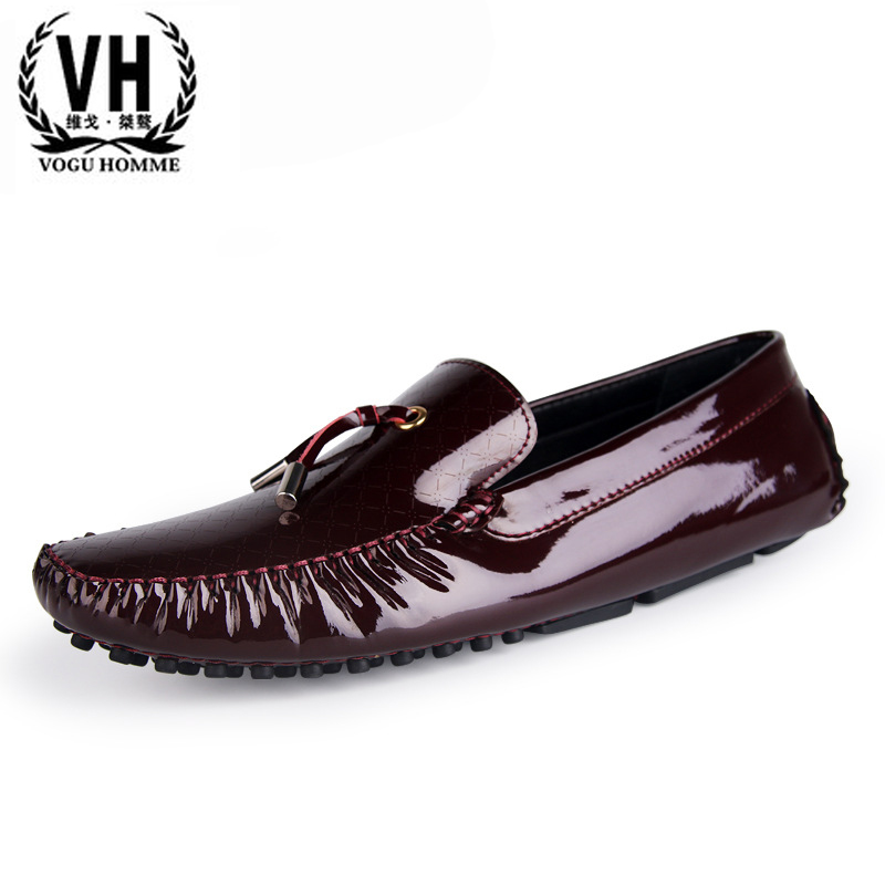 2017 new patent leather shoes Vatican song Doug male lightweight breathable shoes slip-on comfortable driving bottom massage ped branded men s penny loafes casual men s full grain leather emboss crocodile boat shoes slip on breathable moccasin driving shoes