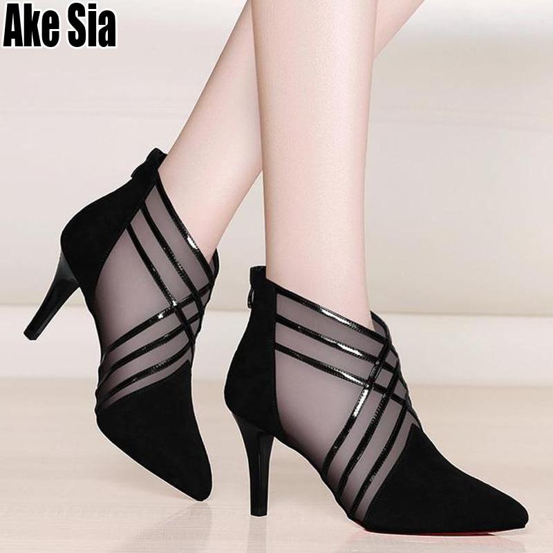 Heels Pumps Shoes Sandals Lace Mesh Pointed-Toe High-Stilettos Stripe Feminine Fashion