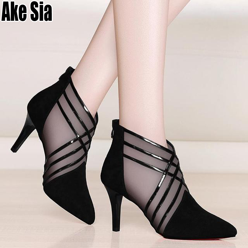 Fashion Mesh & Lace Crossed Stripe Women Ladies Casual Pointed Toe High Stilettos Heels Pumps Feminine Mujer Sandals Shoes A581