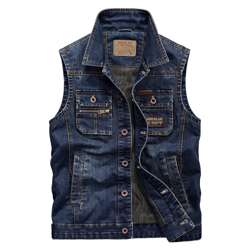 Fashion European Style Cowboy Waistcoat Sleeveless Jacket Top Quality  Denim Jacket Men Jeans Vest Plus Size 5XL 6XL 1