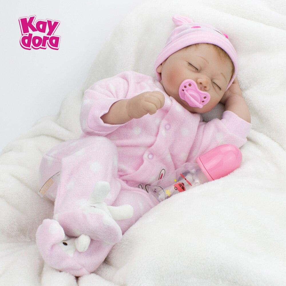 22 inch 55cm Silicone Reborn Baby Dolls Alive Lifelike Real Dolls Realistic Bebe Reborn Babies Sleeping Girls Toys Birthday Gift