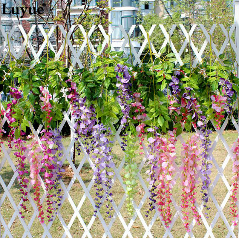 Luyue 12 pieces Wedding Wisteria Flower Cherry Blossom Purple Artificial Flower Decoration leaf rattan garden auditorium prayer