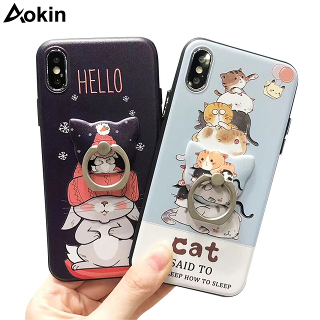 new style bdd96 1abd3 US $4.24 |Aokin Cute Cat Phone Cases for iPhone X Case Cool Rabbit Optional  Stand Ring Holder Soft Silicone Relief Cover for iPhone X Capa-in Fitted ...