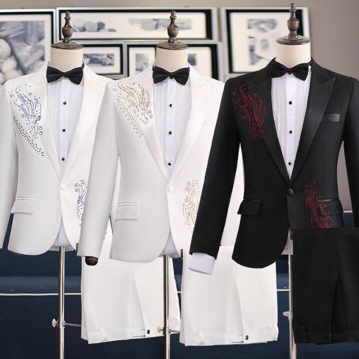 Wedding suits voor mannen blazer jongens prom mariage suits Gastheer zanger slim masculino nieuwste jas broek ontwerpen chorus bruidegom kleding