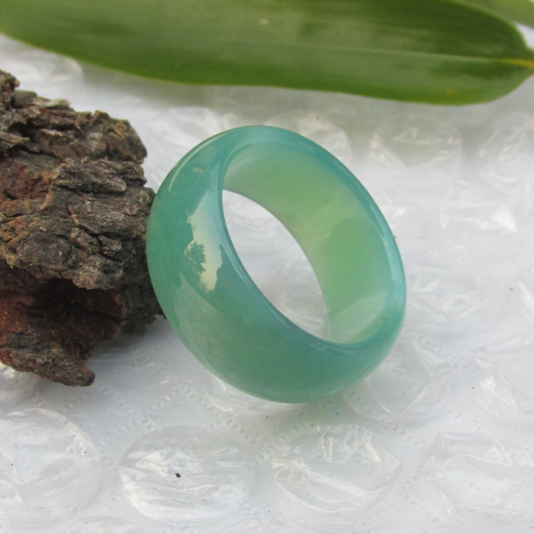 18 мм натуральный зеленый агат палец кольцо нужны мужские и женские модели тонкой нефрита кольцо jade подлинные Спайк полоски