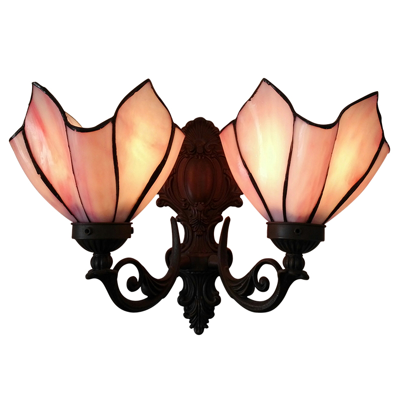American Flower Style Simple Vintage Stained Glass LED Wall Lamp E27 Bulb,Double Wall Light Bedside Porch Indoor Lighting up vintage style twig shape flower embellished women s earring